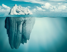 Iceberg In Ocean. Hidden Threat Or Danger Concept. 3d Illustration.