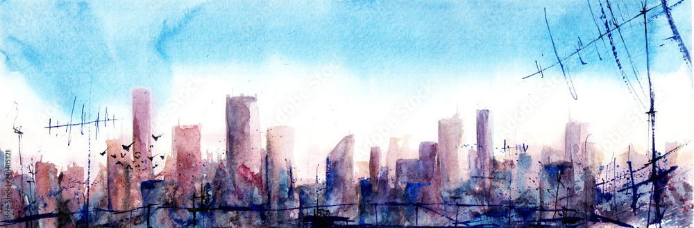 Morning sityscape. Watercolor illustration.