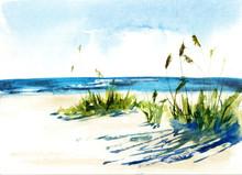 Sunny Seascape. Watercolor Illustration