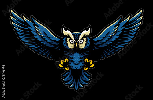 Photo Stands Owls cartoon Flying Owl with Open Wings and Claws Logo Mascot in Sport Style