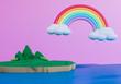3d island with rainbow , 3d render