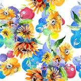 Bouquets floral botanical flower. Watercolor illustration set. Seamless background pattern.