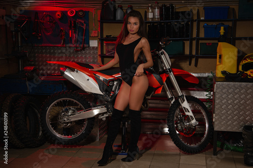 Sexy girl and motorcycle