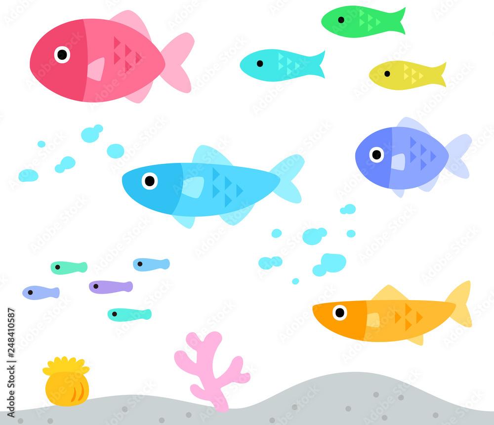 Fototapeta カラフルなたくさんの魚