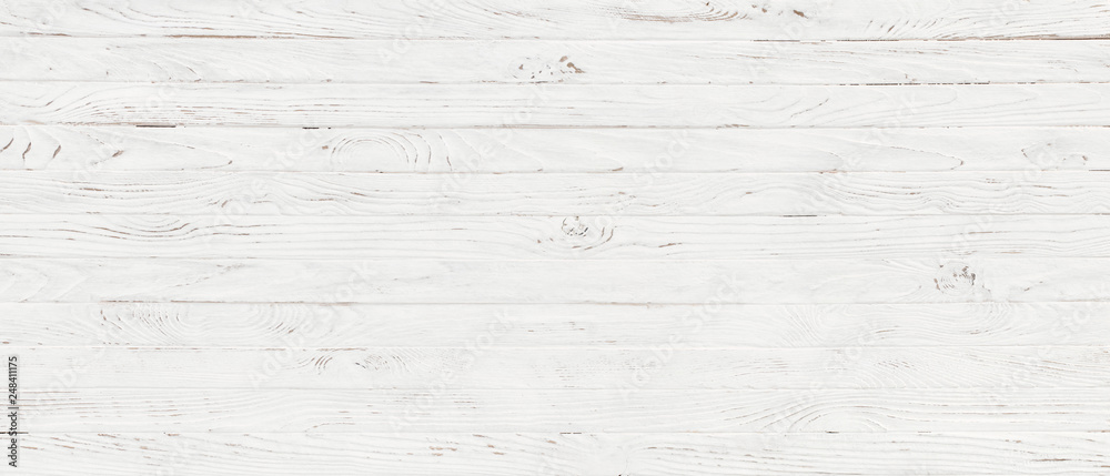 Fototapeta white wood texture background, top view wooden plank panel
