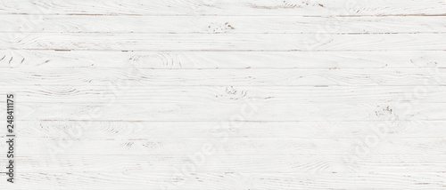 Photo sur Aluminium Bois white wood texture background, top view wooden plank panel