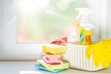 Spring Cleaning Concept - Cleaning Products, Gloves, Bokeh Background, Copy Space