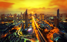 Bangkok Cityscape Sunset Or Bu...