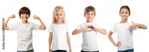 Obraz Cute children in clean t-shirts on white background - fototapety do salonu