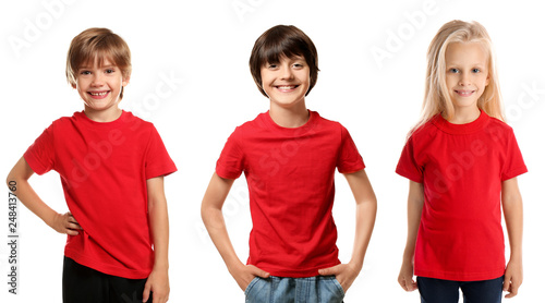 Obraz Cute children in red t-shirts on white background - fototapety do salonu