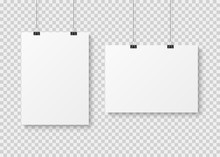 White Blank Poster Template. Presentation Wall Paper Posters, Photo Canvas Clean Advertising Hanging Banner Mockup