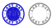 Grunge LAST DAY Stamp Seals Isolated On A White Background. Rosette Seals With Grunge Texture In Blue And Gray Colors. Vector Rubber Stamp Imprint Of LAST DAY Label Inside Round Rosette.