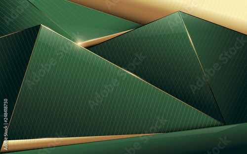 fototapeta na ścianę Abstract polygonal pattern luxury green and gold background