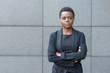 Leinwanddruck Bild - Stern serious young black businesswoman