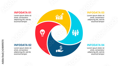 Circle element for infographic with 4 options, parts or steps Tableau sur Toile