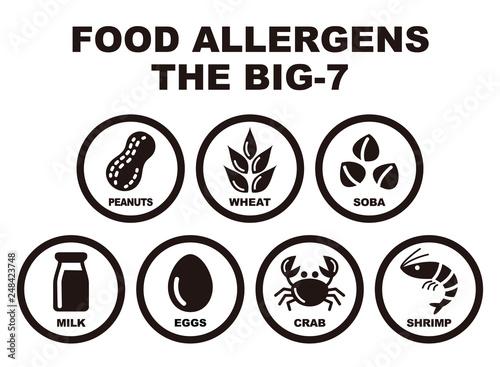 Photo 食物アレルギー誘発物質 主要7品目 アイコンイラスト