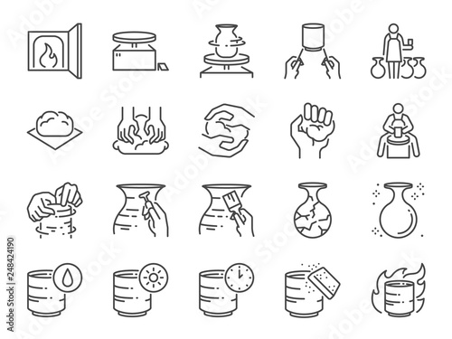 Slika na platnu Pottery line icon set