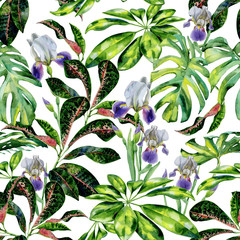Fototapeta Do biura Seamless watercolor tropical pattern with green schefflera arboricola plant and iris flowers, croton and dwarf umbrella tree. Exotic wallpaper pattern with tropic plants.
