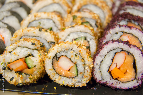 sushi roll on buffet in japanes restaurant Canvas Print