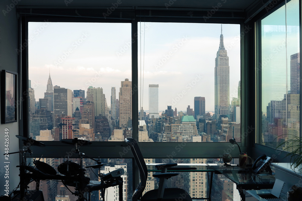 Fototapety, obrazy: View of skyscrapers of  New York City (Manhattan) through windows of apartment. Top view of midtown of Manhattan. USA