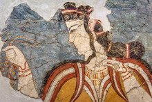 Greek Fresco Of Woman, Ancient Wall Painting, Fine Art Of Classical Greece