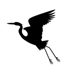 Heron Bird,   Vector Illustration,   Black Silhouette, Profile