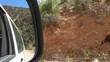 Abstract rear-view mirror and car side window view while traveling on mountain road in a hot tropical country
