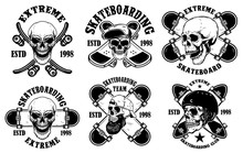 Set Of Skateboarding Club Emblems With Skulls. Design Element For Poster, Logo, Sign, Label, T Shirt.