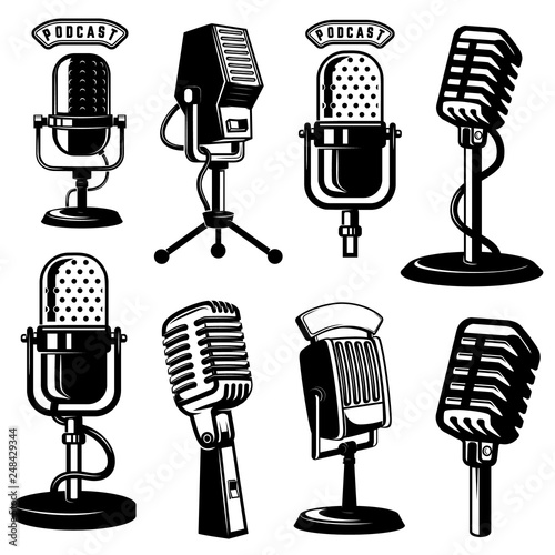 Slika na platnu Set of retro style microphone icons isolated on white background