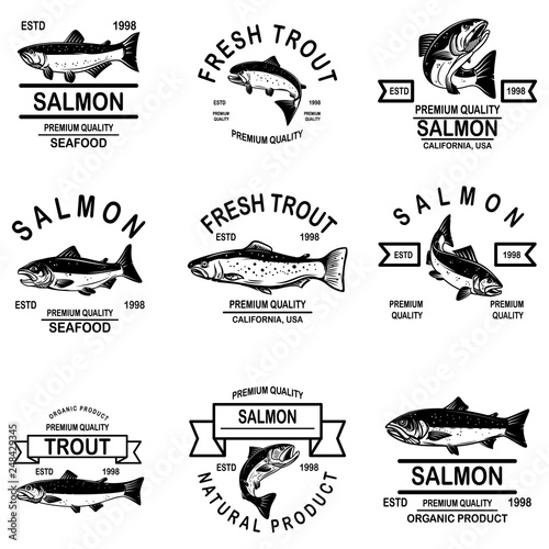 Set of salmon seafood labels Fototapeta