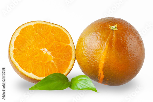 Neue Sorte Schokoladen Orange, ganze Frucht mit Hälfte und Blat