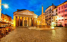 Pantheon At Dawn In Rome, Ital...