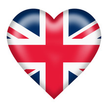 Union Flag Heart Button Isolat...