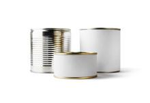 Three Blank Food Tin Cans Isol...