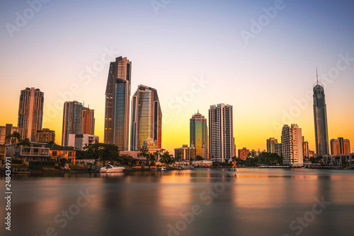 Fényképezés  Sunset skyline of Gold Coast downtown in Queensland, Australia