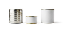 Three Blank Tin Cans Isolated On White Background. Ready For Your Design. Clipping Path.