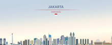 Vector Illustration Of Jakarta City Skyline On Colorful Gradient Beautiful Day Sky Background With Flag Of  Indonesia