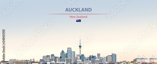 Photo Vector illustration of Auckland city skyline on colorful gradient beautiful day