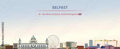 Fotografie, Obraz Vector illustration of Belfast city skyline on colorful gradient beautiful day s