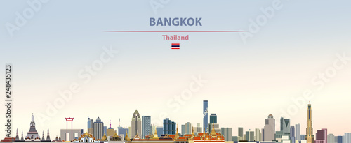 Fotografiet Vector illustration of Bangkok city skyline on colorful gradient beautiful day s