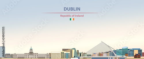 Vector illustration of Dublin city skyline on colorful gradient beautiful day sk Wallpaper Mural