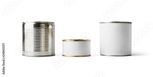Photo  Three blank tin cans isolated on white background