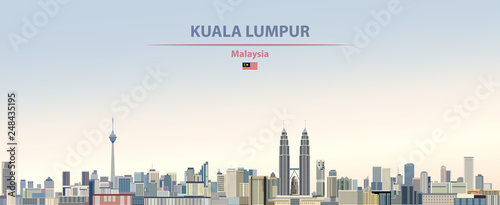 Canvas Print Vector illustration of Kuala Lumpur city skyline on colorful gradient beautiful