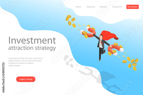 Fényképezés  Isometric flat vector landing page template of investment attraction strategy, profit, income, financial freedom