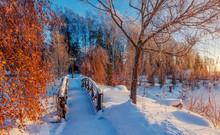 Wooden Bridge In The Snowy Win...