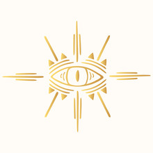 Hand Drawn Golden Boho Evil Ey...