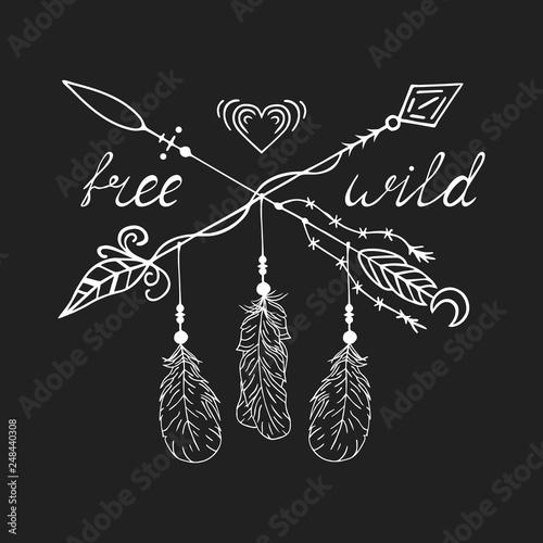 Hand drawn free and wild boho tribal design tattoo with