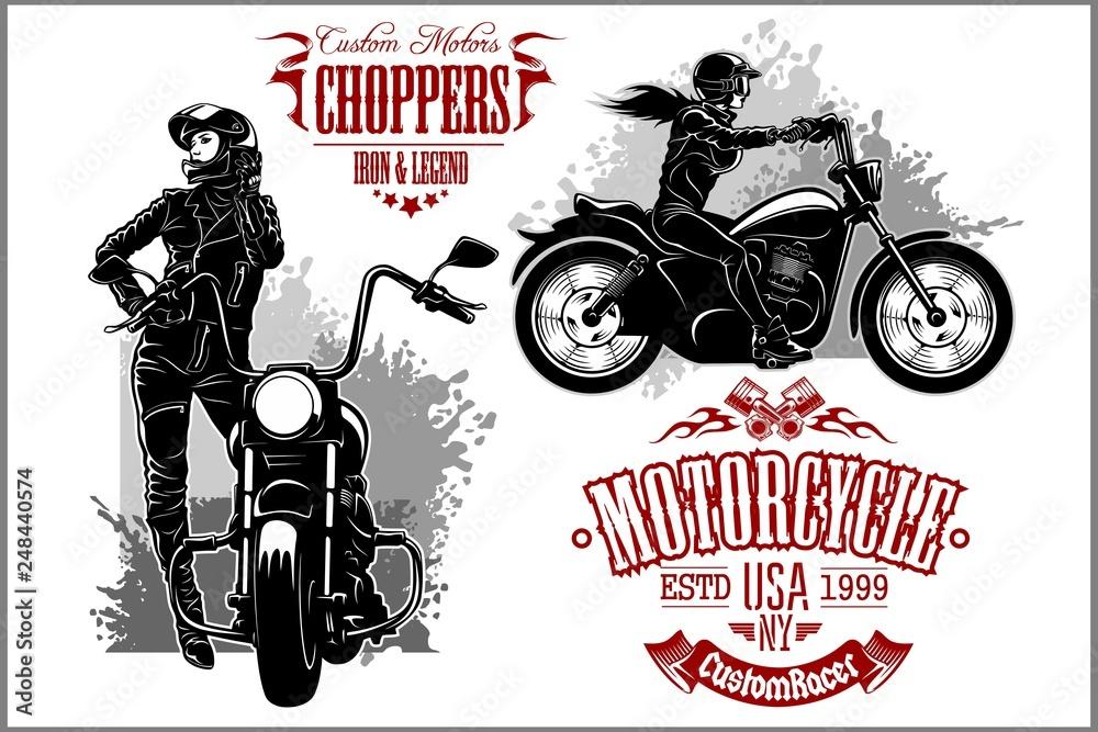 Fototapeta Girls ride a motorbike. Biker party poster design. Vector illustration