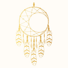 Hand Drawn Vintage Bohemian Gold Dream Catcher In Boho Style. Magic Tribal Indian Golden Tattoo. Traditional Aztec Print.