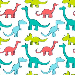 Seamless pattern with cute dinosaurs for children textile , wallpaper , posters and other design. Vector illustration.